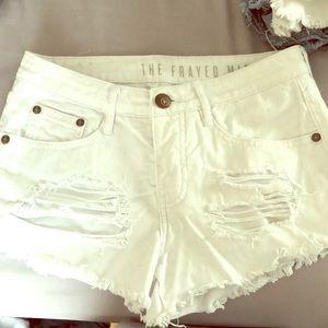 Cotton on white denim jean shorts